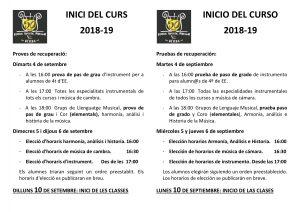 Inicio de curso 2018-19 INICI DE CURS I EXAMENS DE RECUPERACI   2018 19 3