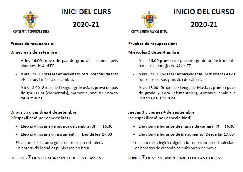 Inici de curs INICI DE CURS I EXAMENS DE RECUPERACI   2020 21