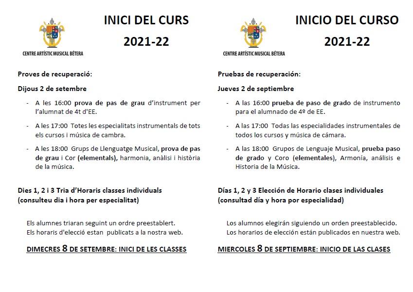 Inicio de curso INICI DE CURS I EXAMENS DE RECUPERACI   2021 22 final