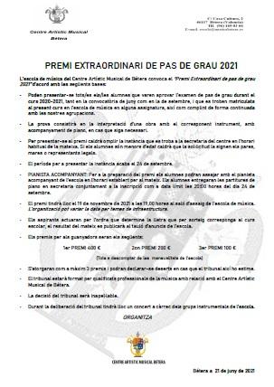 Premi Extraordinari Pas de Grau PREMI EXTRAORDINARI PAS DE GRAU 2021