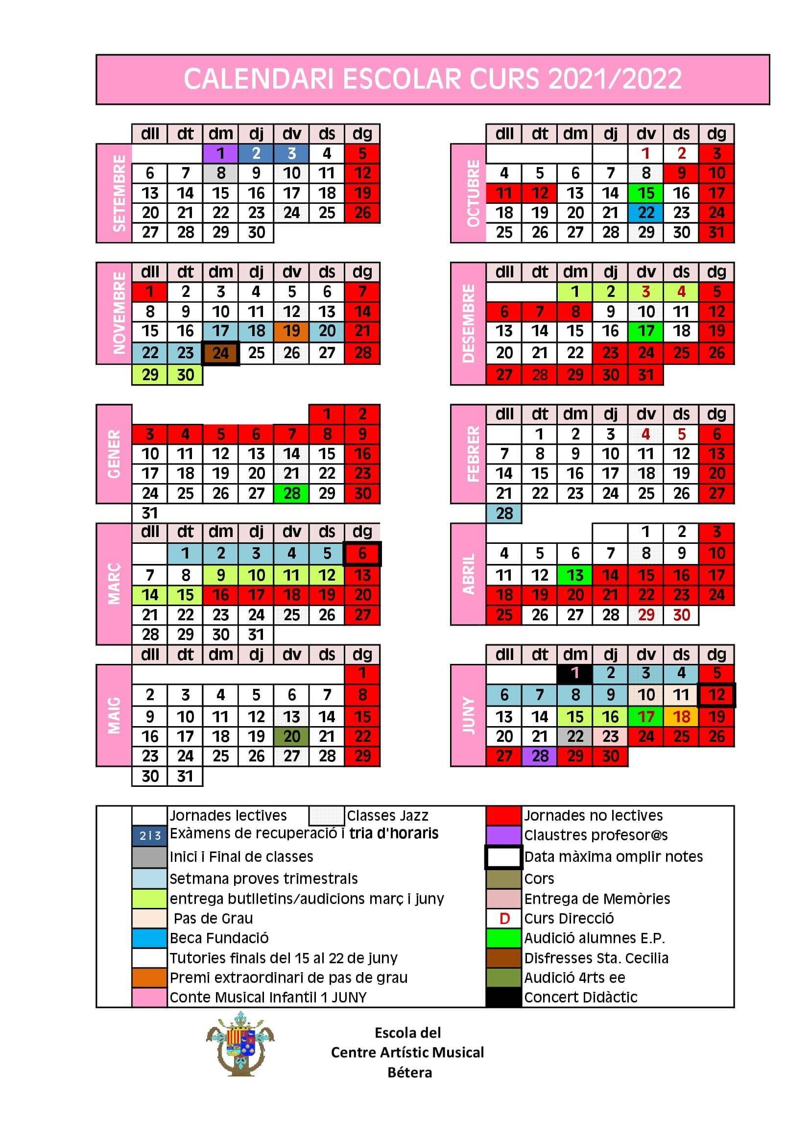 Calendari Escolar CALENDARIO ESCOLAR CURSO 2021 2022